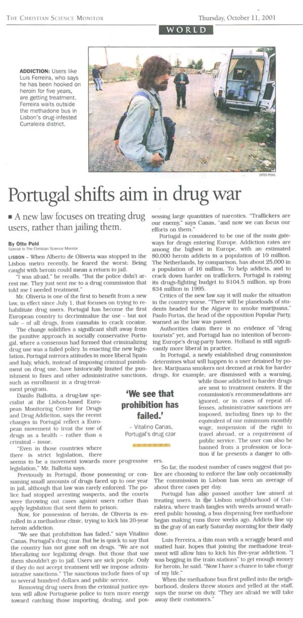 Portugal Shifts Aim in Drug War