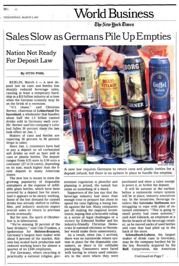 Beverage Sales Slow as Germans Pile Up Empties