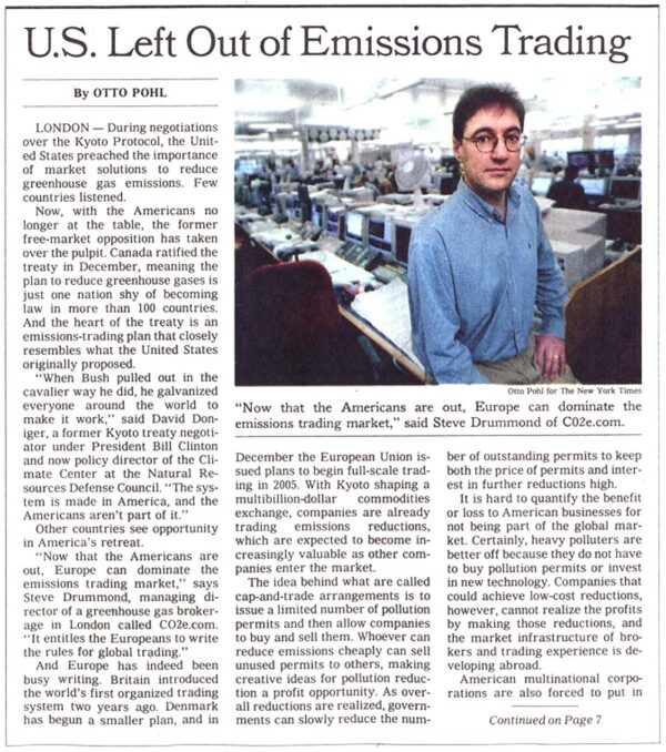 U.S. Left Out of Emissions Trading