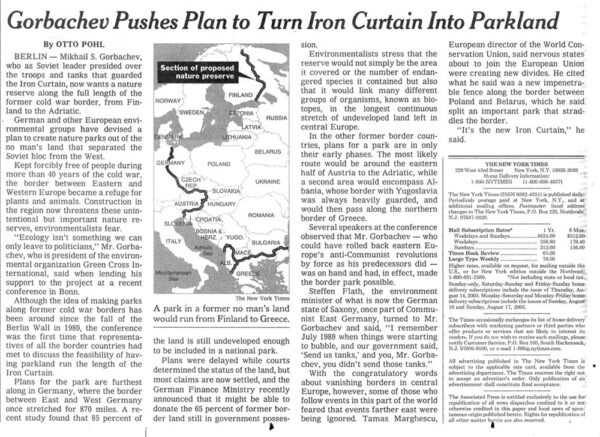 Gorbachev Pushes Park Plan for Iron Curtain