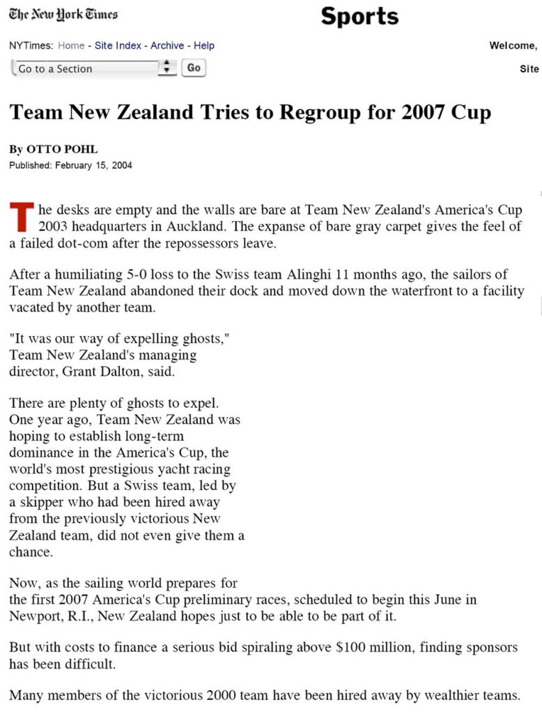 Team New Zealand Tries to Regroup for 2007 Cup
