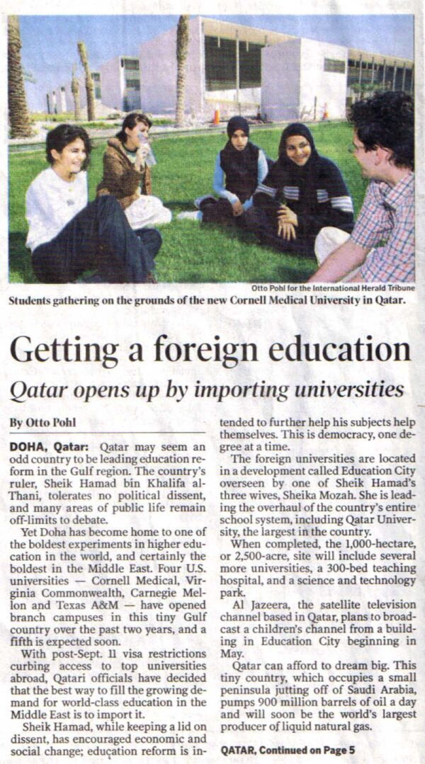Qatar opens up by importing universities